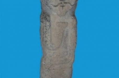 Каменное изваяние балбал с изображением воина VIII-IX вв., хранящееся в фонде историко-културного заповедника-музея «Азрет Султан».