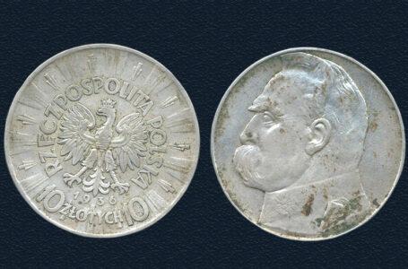 Две 10 злотовых серебряных монет Польской Республики 1935 и 1936 годов