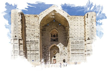 Mausoleum Kozha Ahmet Yasavi.  Winter landscape